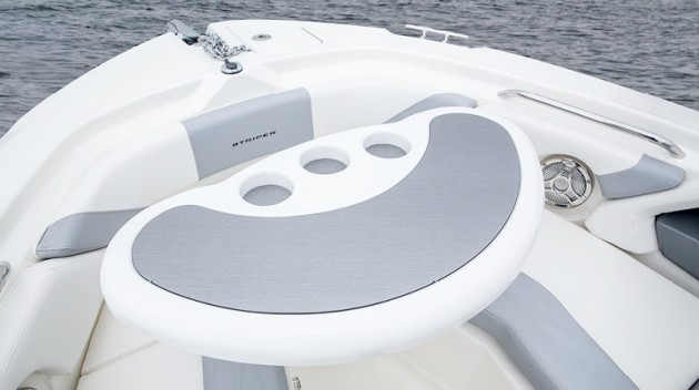 There's lots of room for relaxing and entertaining in the bow of the Striper 200 DC. Luckily, much of the plush accoutrements can be removed to expand the space for fishing up here.