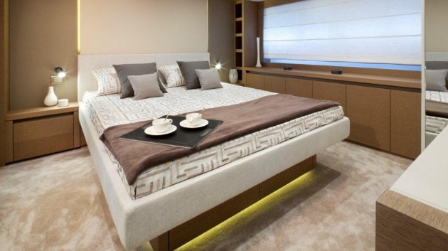The master stateroom is situated on the main deck of the Prestige 750 and chocked-full of luxurious finishes.