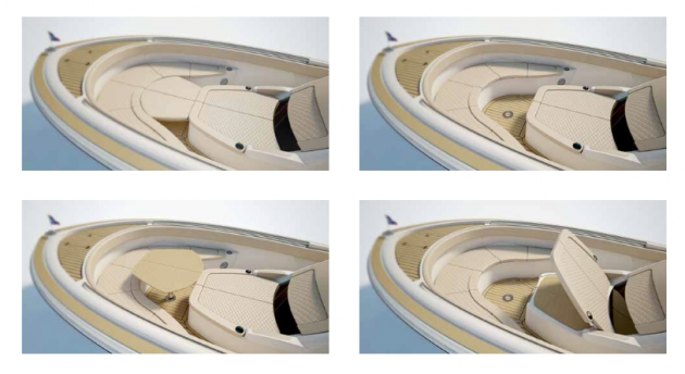 Presto, chango. The bow area in the Chris Craft Catalina 34 has a number of different personalities.