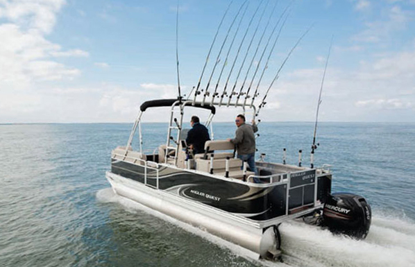 The angler qwest pontoon boat get serious for Fishing pontoons for sale