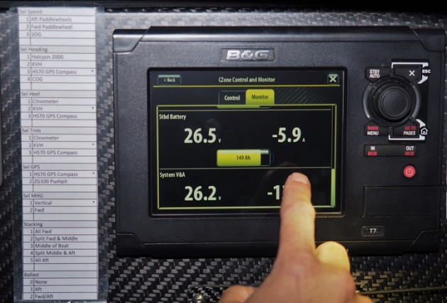 "Fig. 1: All boats are equipped with identical systems. This is a 7"" B&G touch-screen display."