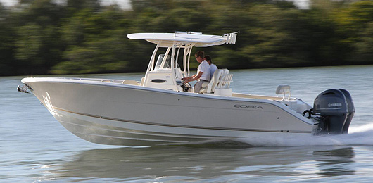 A Cobia 277 CC underway.