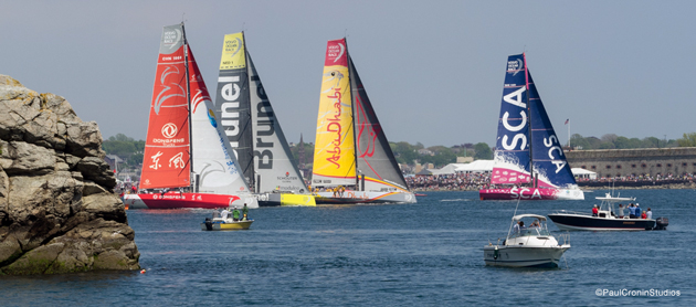 Team SCA leads the pack up the first leg at the Volvo Ocean Race Newport In-Port Race. Photo: PaulCroninStudios