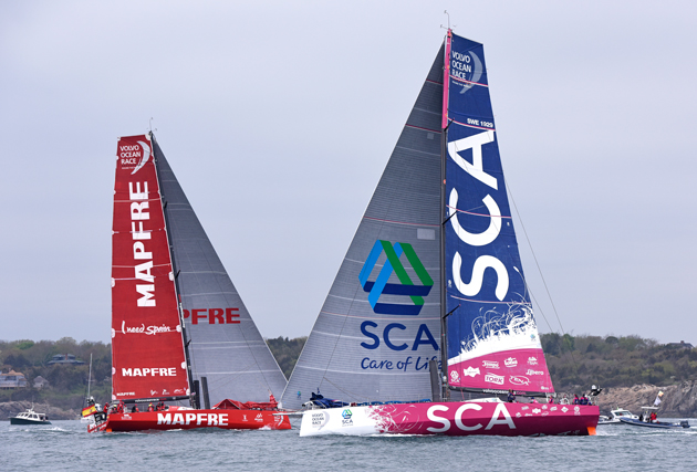 Team SCA passes Mapfre on the Newport in-Port Race. Photo courtesy Team SCA