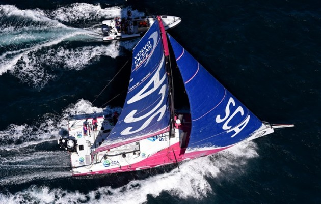 Team SCA is one of the Volvo  Ocean 65s circling the world at high speed. Photo: Rick Tomlinson/Team SCA..
