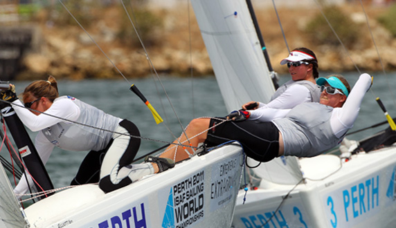 Physicality is nothing new for Annie; the Olympic Elliot 6m was also a very physical boat. Photo: RYA