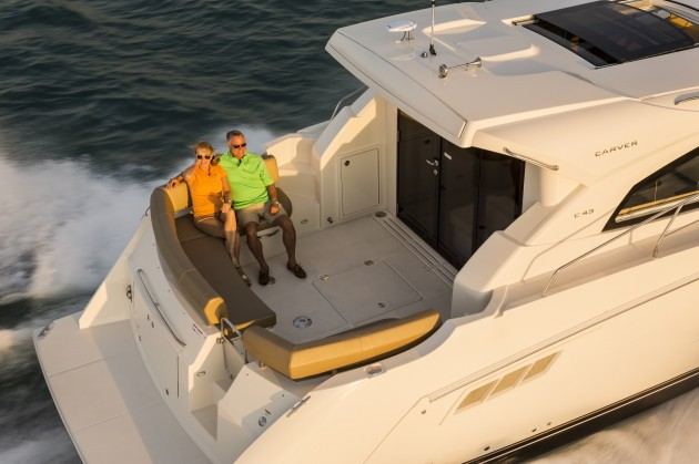 There's a ton of outside spaces on the Carver C43, but you'll have the most fun in the aft cockpit and on the huge swim platform. Photo courtesy of Carver