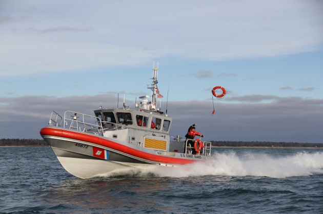 Man overboard! A United States Coast Guard response vessel performs a drill. Photo courtesy of USCG