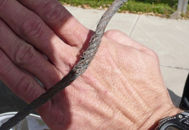 Wire rope made of steel  eventually degrades and produces hand-mangling barbs.