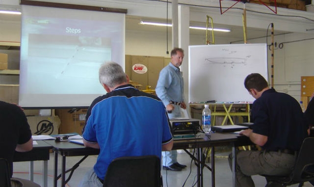 Tres Martin leads the classroom portion of a course in Lake Havasu City, Ariz.