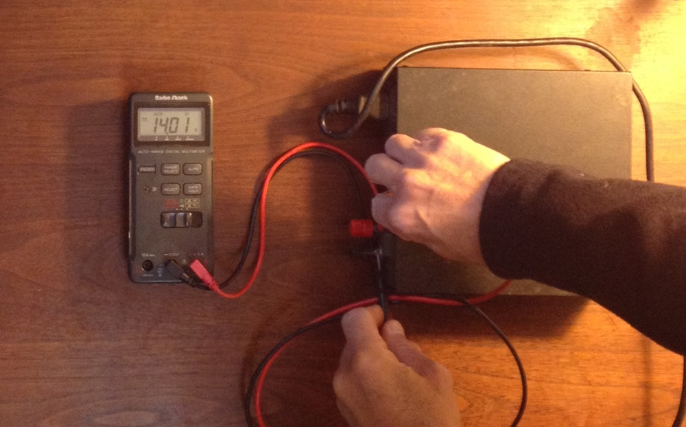 Fig. 2  - The 12-volt power supply provides a steady 14 volts – about what you would measure at your battery terminals with the engine running and the alternator charging.