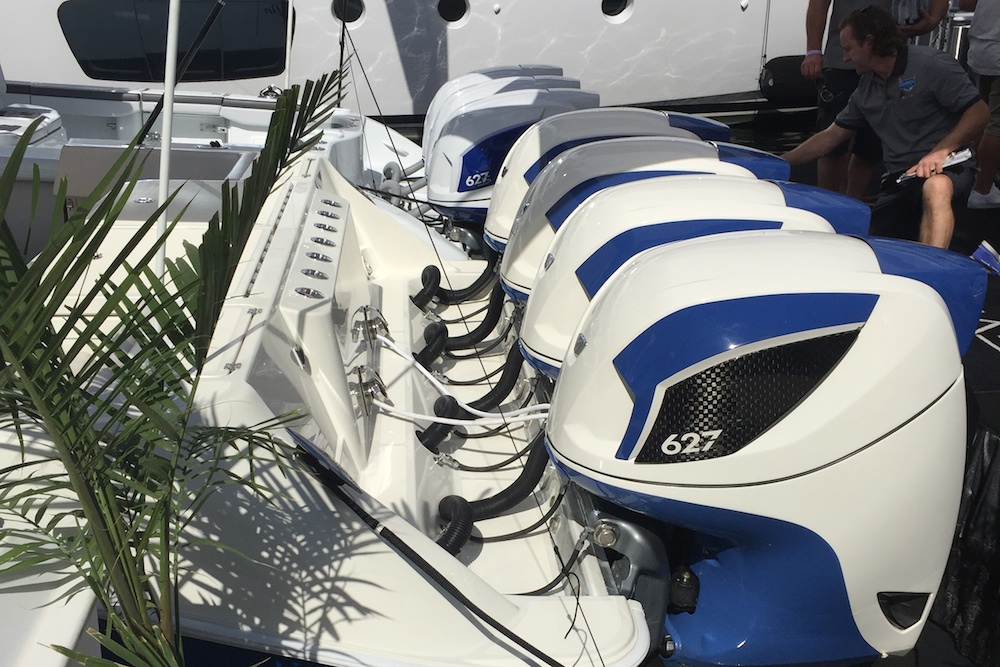 Seven Marine display at Ft. Lauderdale Boat Show with seven 627-hp engines