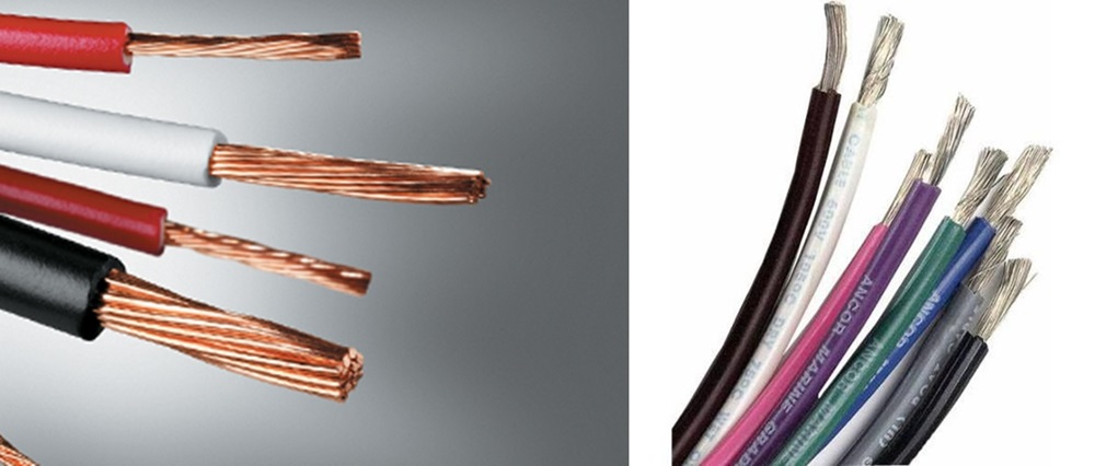 Untinned copper wire (left) is used in boats with good results, but tinned wire (right) is better able to resist corrosion, both at terminals and in capillary action along the wire.