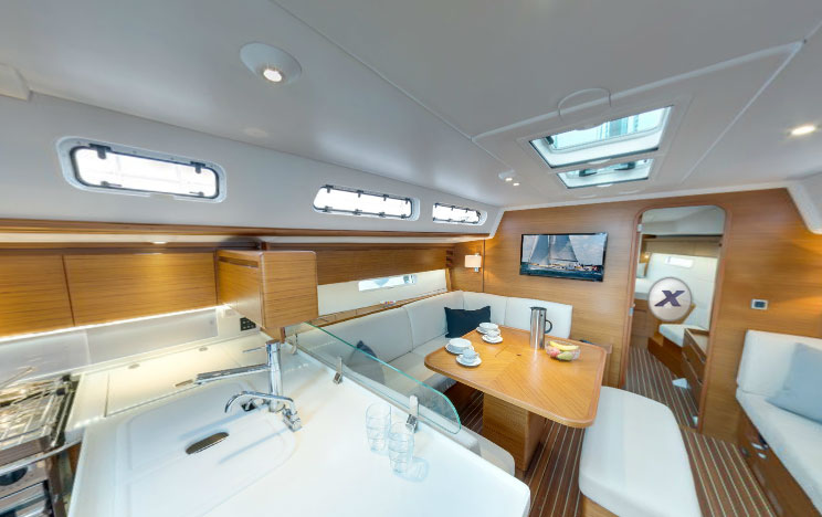The Finish On Our Boat Was A Light Teak With A White Vinyl Headliner. Light  Surfaces And Upholstery Also Serve To Brighten Up The Interior, Updating It  To ...