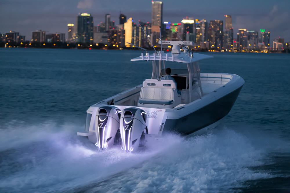 Twin Seven Marine 627 SpectraBlade engines power this big center-console.