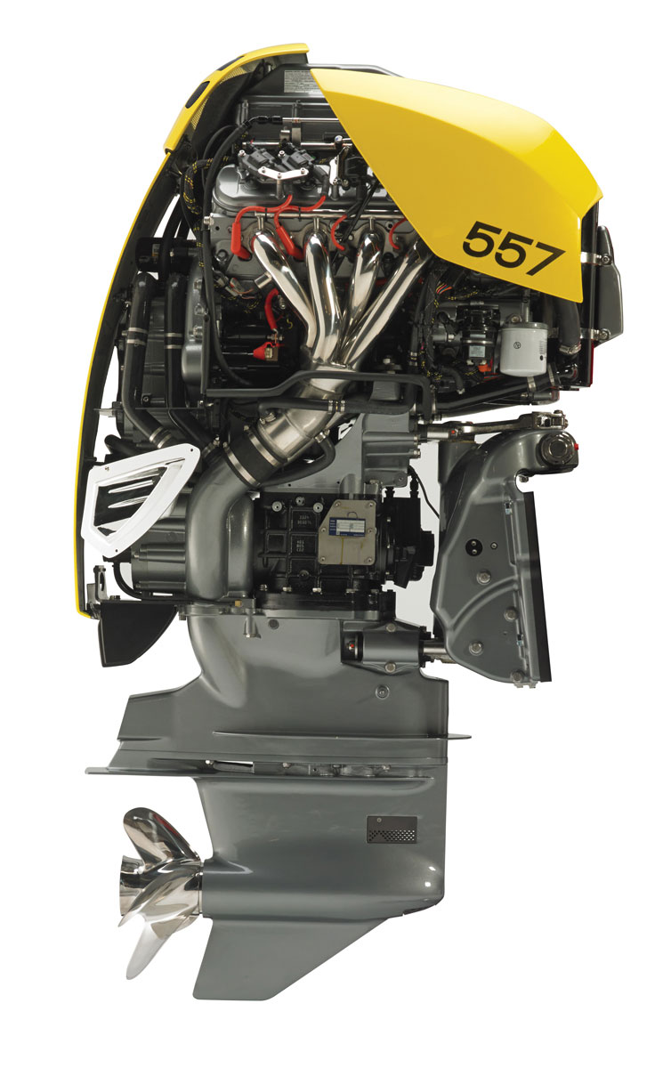 The cut-away Seven shows how the 6.2-liter V8 is positioned over a ZF transmission and the housing for the belt drive that transfers the power. The motor also features a closed cooling system. The base engine weighs about 1,100 pounds.