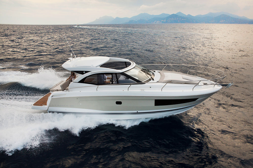 The new Jeanneau Leader 36 is offered with twin Volvo diesels in either 260 or 300 hp, or twin MerCruiser 5.7-liter 300-hp gasoline engines. Photo courtesy of Jeanneau.