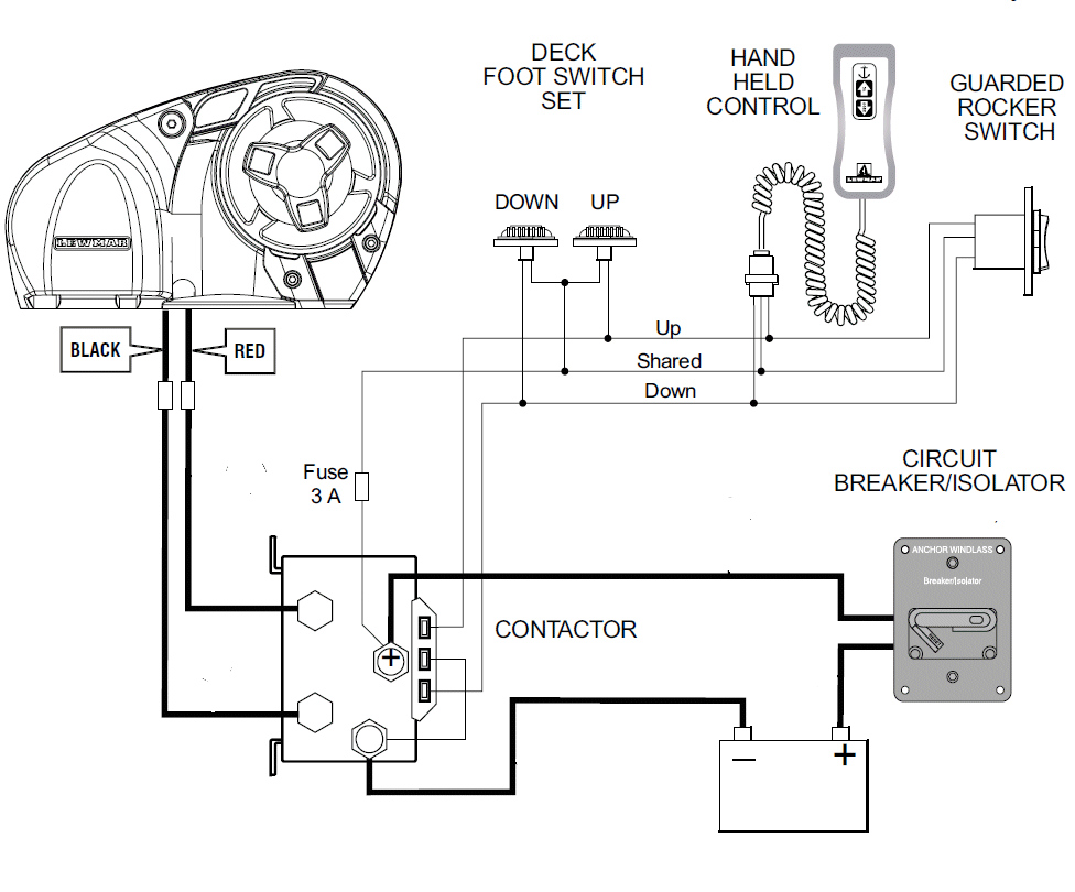 This is the wiring installation diagram for the Lewmar Pro-Series horizontal windlass shown above. Illustration courtesy of Lewmar.