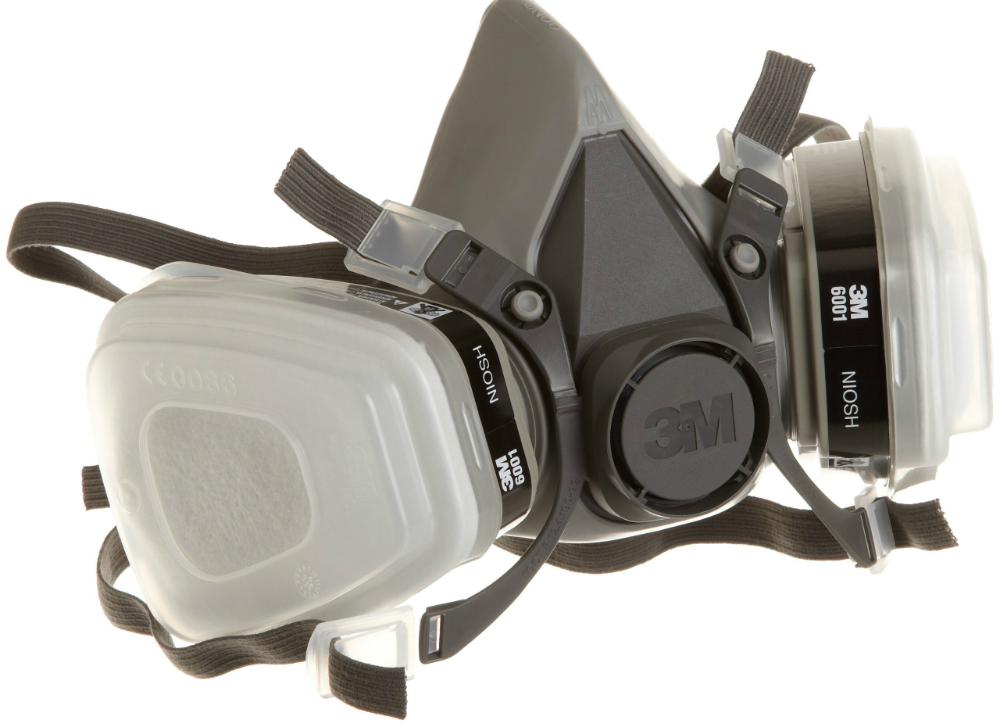 Use a high-quality cartridge respirator -- not just a paper mask -- plus eye protection, gloves, and full paint suit when working with old paint dust, thinners, solvents, or two-part paints.