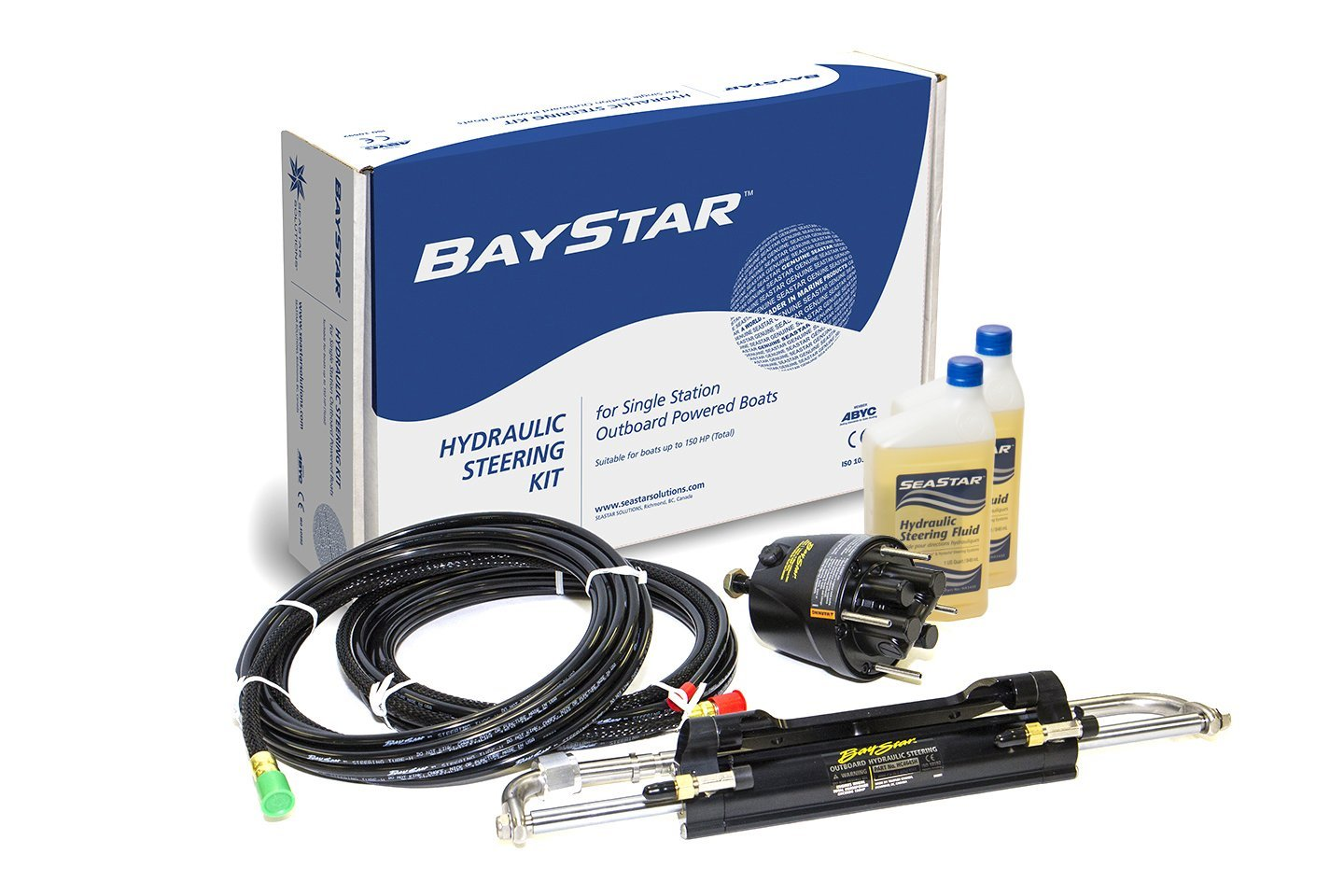 This photo shows the parts of the BayStar hydraulic steering system for single engines up to 150 hp.