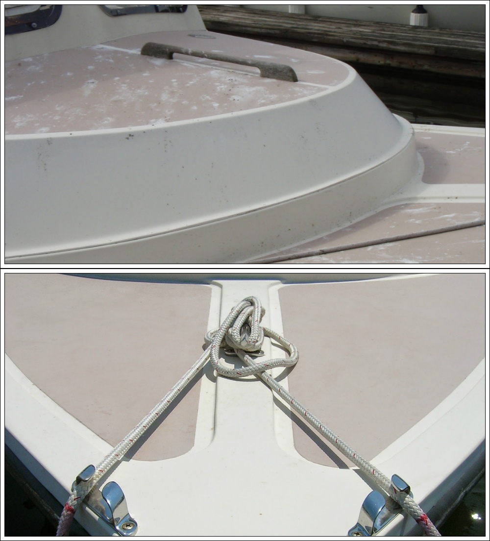 Above: The molded-in foredeck nonskid on this boat was worn down over the years and damaged by acid from bird droppings. Below: The nonskid areas were taped off and painted with single-part Pettit Easypoxy polyurethane paint mixed with Interlux nonskid compound.
