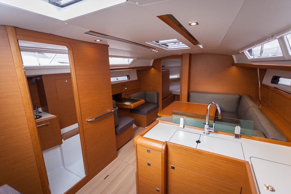 At Cannes, boats.com tested the three-cabin, two-heads version of the 419. Photo by Diego Yriarte.