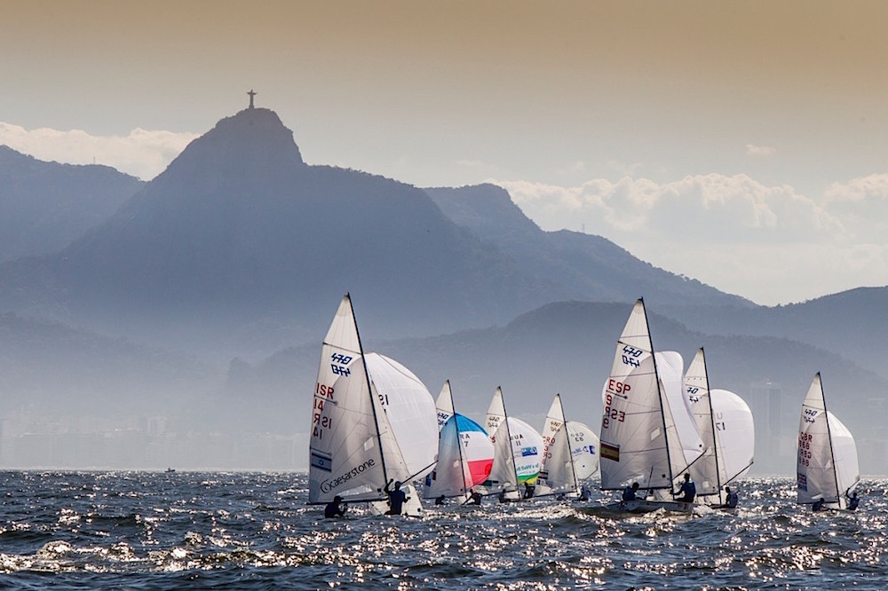 The 2016 Olympic Sailing races will be held in Rio de Janeiro's Guanabara Bay. Olympic-class 470s are shown racing here in 2015. Photo: Jesus Renedo/Sailing Energy/ISAF.