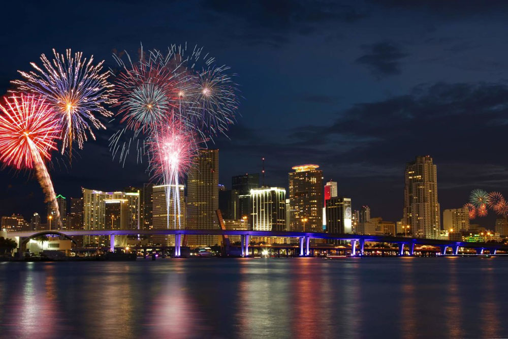 There are a few fireworks displays to enjoy in Miami, FL, on July 4, but we like the one at Bayfront Park the best. Photo courtesy miamibeach.com