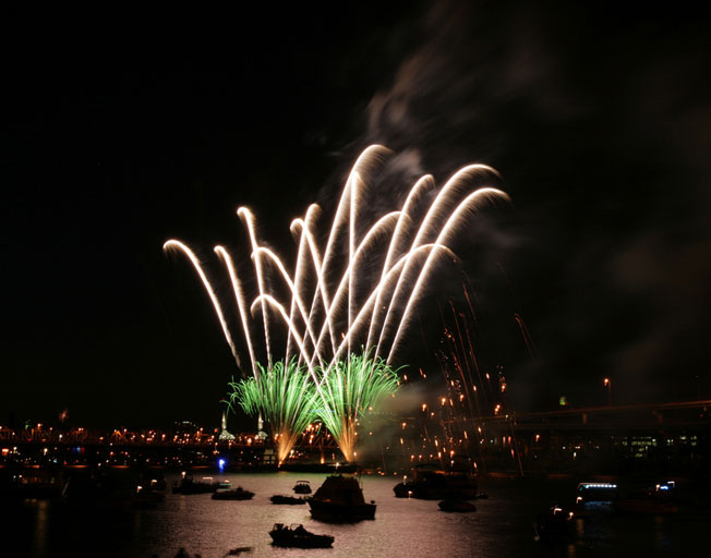 Listen to some blues and then watch the pyrotechnics fly at the annual Waterfront Blues Festival in Portland, OR, July 4. Photo courtesy of Portland Blues Festival