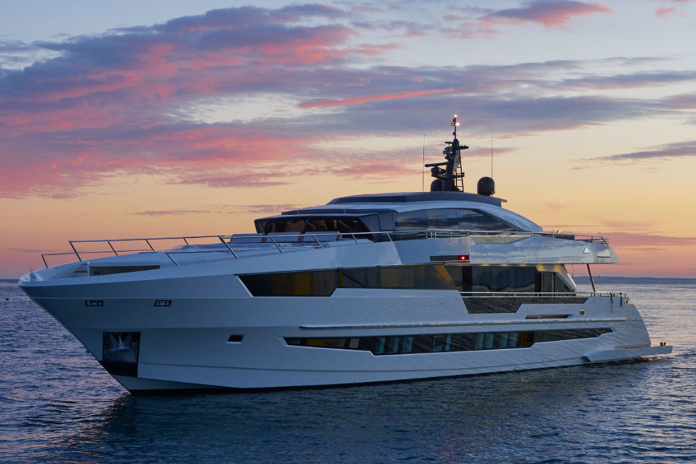 The Astondoa Century profile shows off a unique combination flybridge/front bridge where guests and crew intermingle–a relatively new approach in the world of superyachts. Three decks, each with intimate social areas, ensure that even 15 overnight guests will never feel like a crowd.