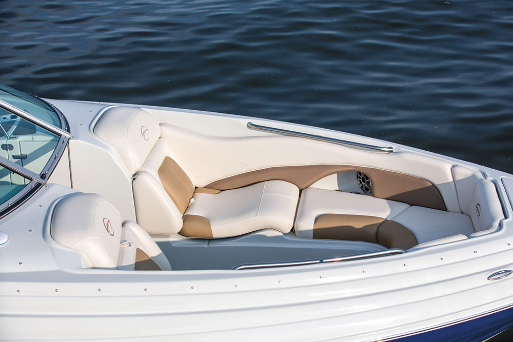 The unusual bow seating on the Crownline 285 SS is as comfortable as it looks.