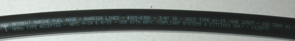 Today's marine fuel hose markings  carry a wealth of rating information.