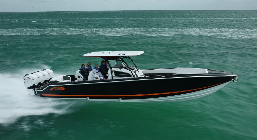 Shown here during the Florida Powerboat Club's Miami Boat Show Poker Run in February, this Nor-Tech Sport 390 Center Console reached 101 mph. Photo courtesy Florida Powerboat Club.