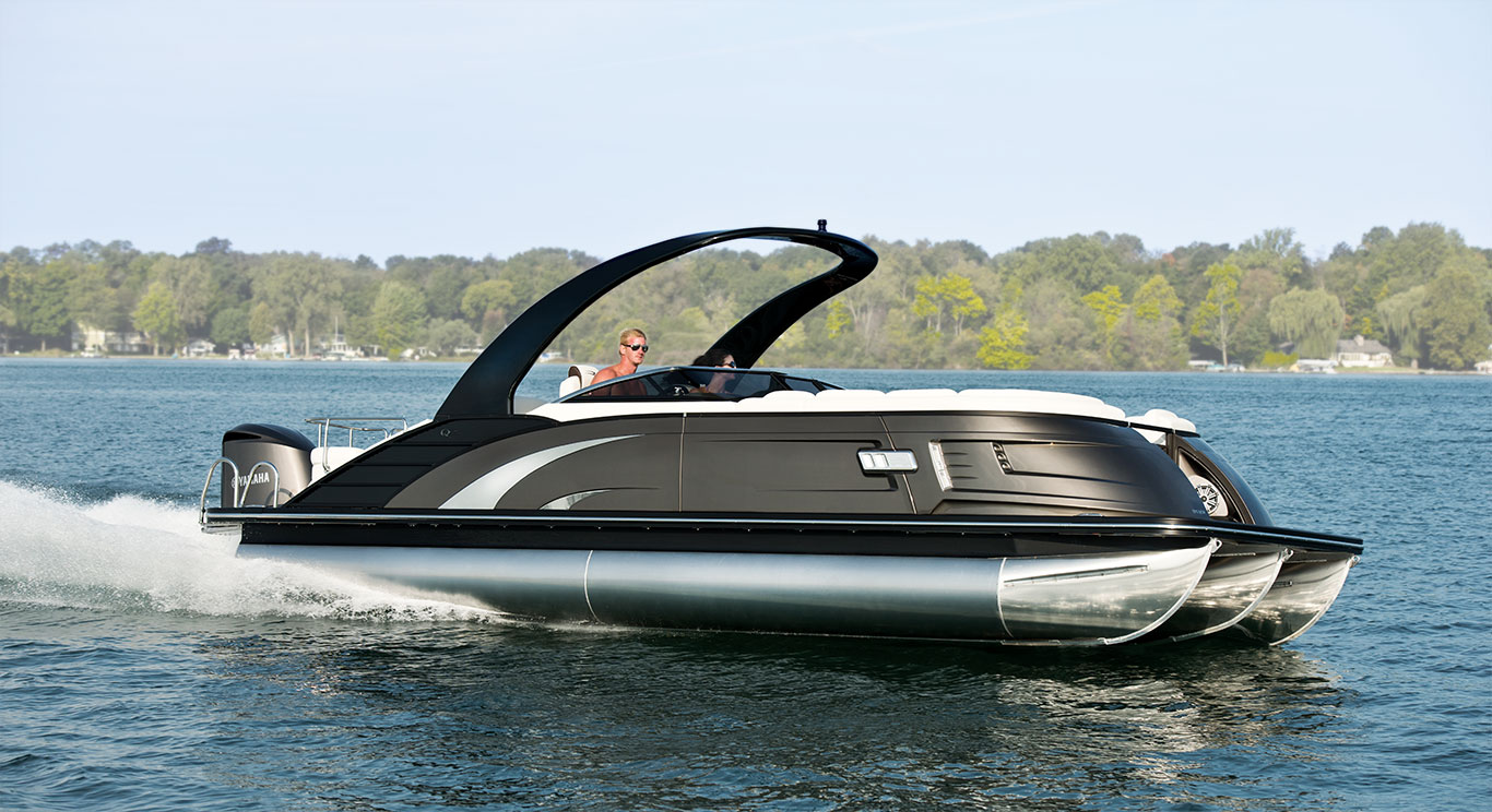 Tri-toon pontoon boats (those with triple logs) can offer handling and performance that's similar to that of a V-hull.