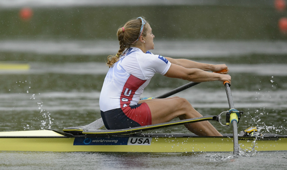 U.S. single sculler Gevvie Stone at the World Cup II finals in Lucerne, where she took silver behind Kimberly Brennan. Photo courtesy of USRowing.