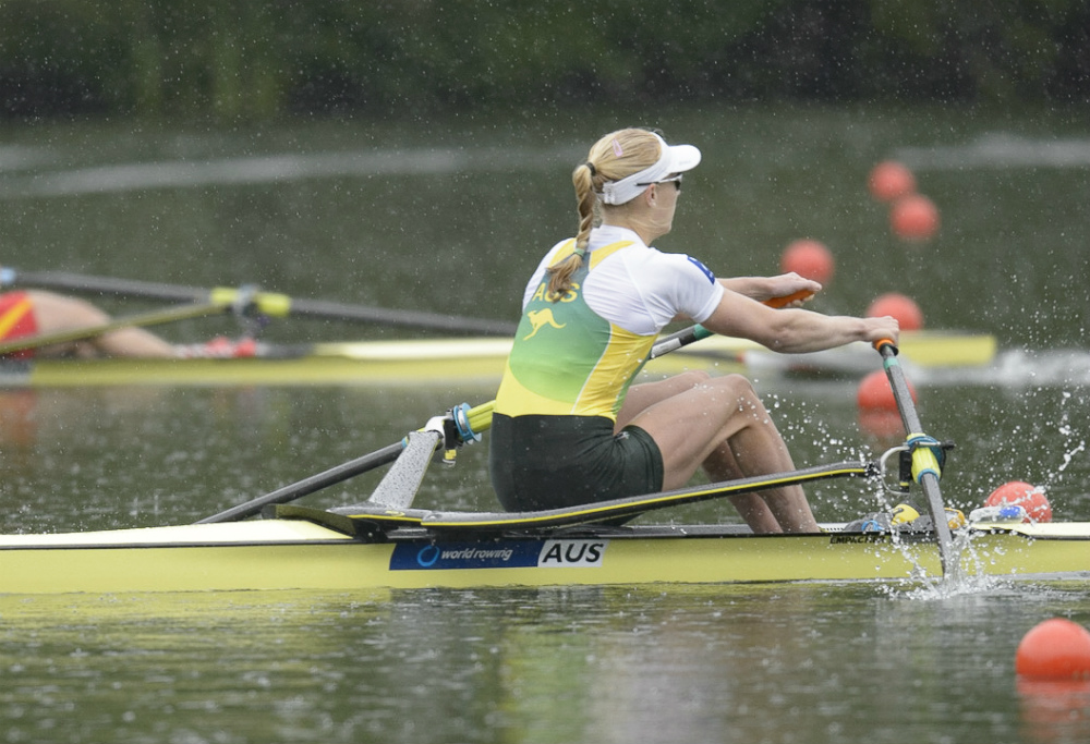 Australia's Kimberly Brennan is a powerful and experienced sculler. She's coming into Rio at full throttle. Photo courtesy of USRowing.