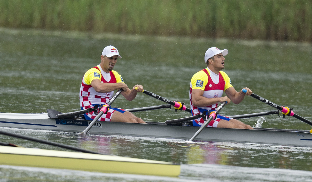 Croatian Double Scull brothers Valent and Martin Sinkovic are a well-coordinated duo who have been rowing together a long time. They're shown here having crossed the finish line at the World Cup II regatta in Lucerne, where they won gold. Photo courtesy of USRowing.