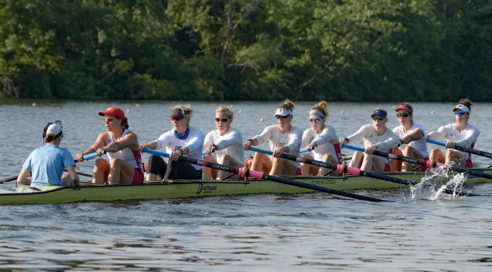 The U.S. Women's Eight gets in a practice row at a media event before heading to the Olympics. Photo courtesy of USRowing.