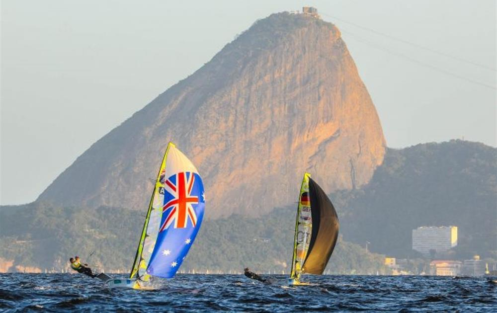 The racing in Brazil, shown here in a 2015 test event, is on Rio de Janeiro's photogenic Guanabara Bay. Photo Rio 2016/Alex Ferro.