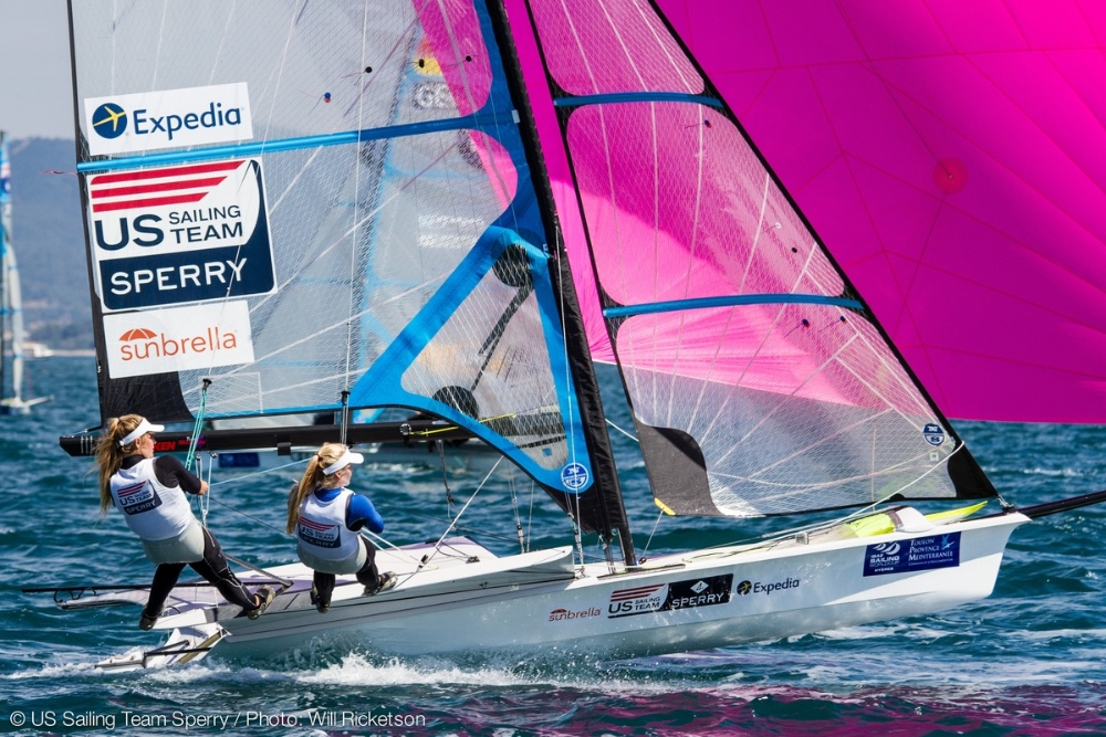 This is the first Olympic Games in which a women's skiff dinghy, the 49erFX, will be utilized. Paris Henken and Helena Scutt will compete for the U.S. in the extremely lightweight class. Photo: Will Ricketson.