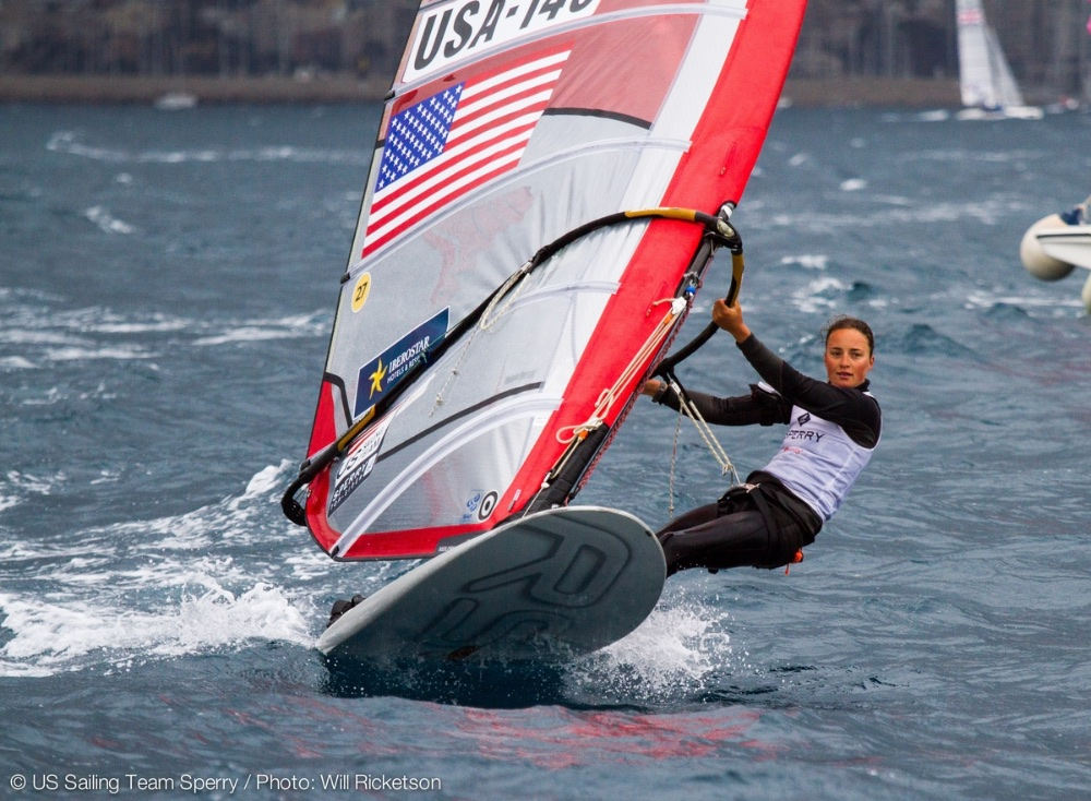 Stanford undergraduate Marion Lepert will carry the U.S. flag on the sail of her RS:X windsurfer. Photo: Will Ricketson.