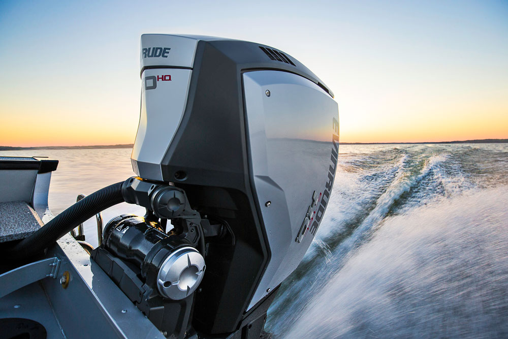 The new 2.7-liter Evinrude E-TEC G2 motors have the same dramatic, anglular styling as the bigger G2 models introduced in 2014.