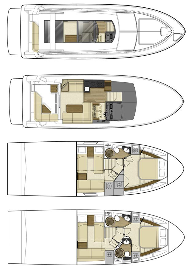 Beyond the aforementioned differences due to the addition of the flybridge, the 400 models share the same essential layouts.