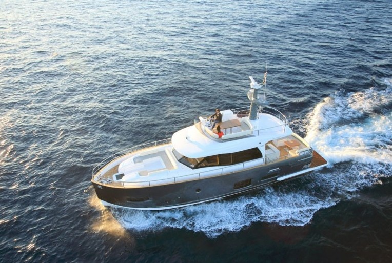 Boats designed to operate in both displacement and planning realms, like this Azimut Magellano 53, still offer good efficiency at slow speed but can also offer a bit more pep.