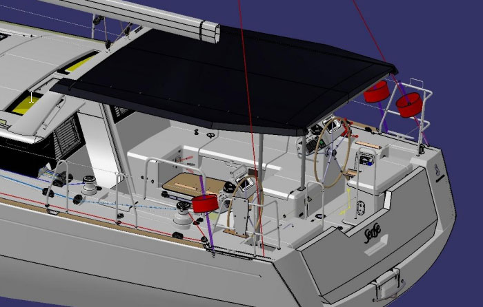 The aft corners of the hardtop have been angled inward, leaving the port and starboard ends of the boat relatively open and clutter-free. This will make it easier for those waiting to toss a line onto the dock, especially in the case of a Med mooring.