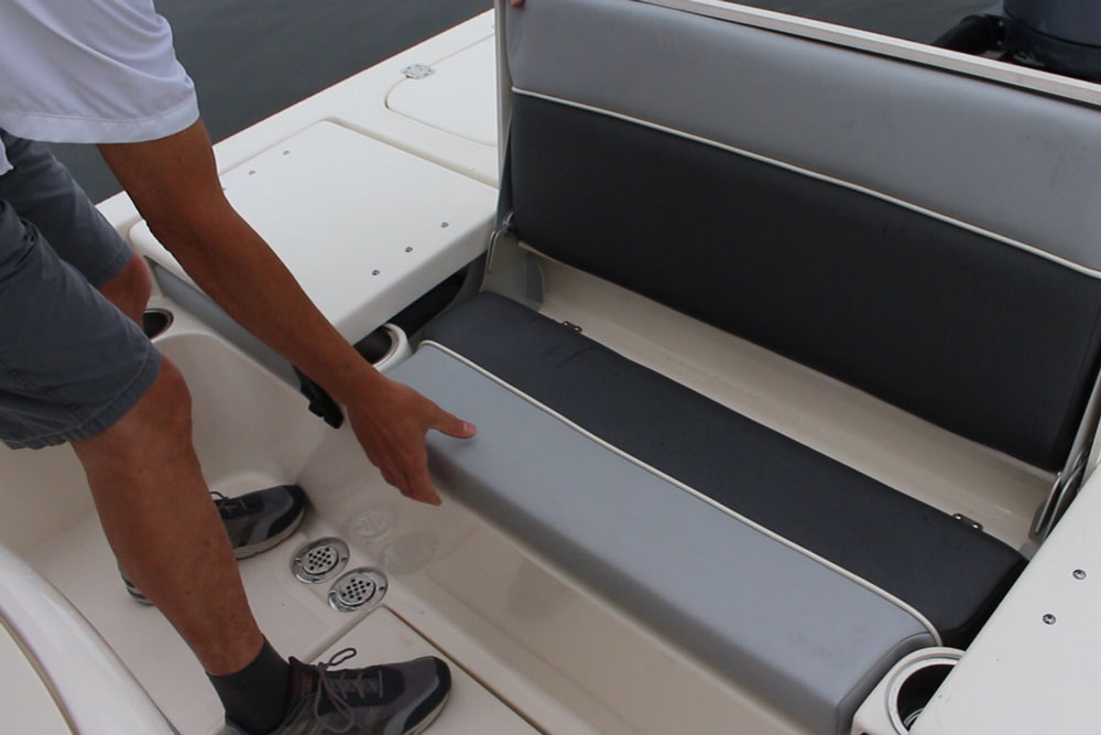 The Shearwater's aft casting platform isn't as massive as the foredeck, but it does house a comfy fold-away bench seat—with a livewell underneath.
