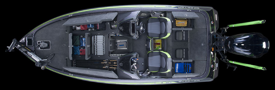 Inside the Skeeter FX21 LE there's plenty of room for fishing rods, tackle, and gear.