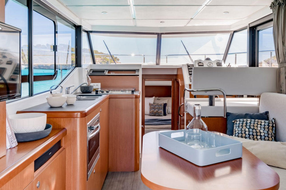 Twin sinks and a Vitrifrigo under-counter refrigerator are standard on the Swift 30; though the galley and saloon are compact, they're functional as well.