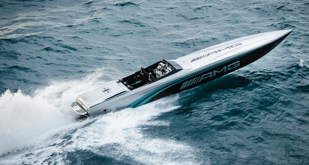 The latest collaboration between Cigarette and Mercedes AMG, this 50-foot Marauder was a winner during its unveiling at the Monaco Grand Prix. Photo courtesy Cigarette Racing Team.