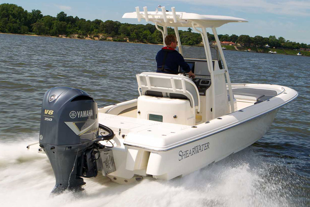 A single Yamaha F350C pushed a Shearwater 26 Carolina to over 60 MPH.